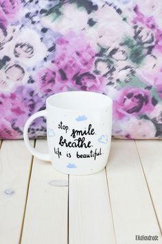 Kubek ręcznie malowany Stop.Smile.Breathe. - kikahandmade - Kubki i filiżanki