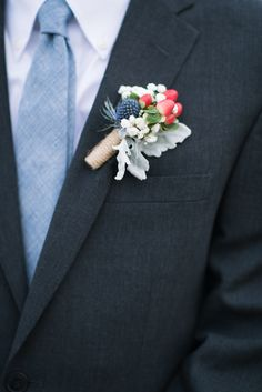 Dusty Blue Groom's Tie with Thistle and Berry Boutonniere