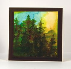 watercolor forest sunset card by Heather Telford