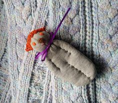 Lavender Filled Sachet Sock Doll Grey Cat With Orange by Pedricks