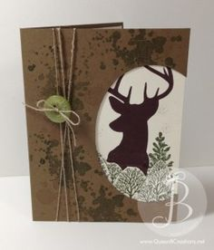 Deer hunting card made using Stampin' Up! Remembering Christmas, Lovely Trees, Gorgeous Grunge and Age Awareness stamp sets. Great birthday card for any deer hunter!