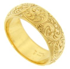 18k Yellow Gold Antique Repousse Wedding Band