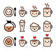 Coffee Kawaii Icons | GraphicRiver