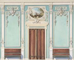 Wall Elevation of Central Door with Brown Curtain - Anonymous - Late 19th Century - British
