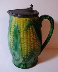 Rare Antique Majolica Cornware Corn Husk Pewter Lidded Pitcher