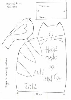 Misi y pitito by Zulu and Co, cat &birdie pattern Felt Patterns, Applique Patterns, Sewing Patterns, Cat Crafts, Sewing Crafts, Sewing Projects, Colchas Country, Cat Applique, Quilt Labels