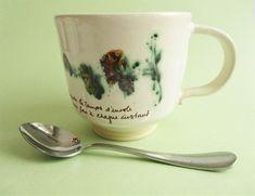 300 ml Handmade Mug with Quince Flower Detail Ceramic Bowls, Stoneware, Flower Branch, White Enamel, Workshop, Ceramics, Mugs, Detail, Tableware