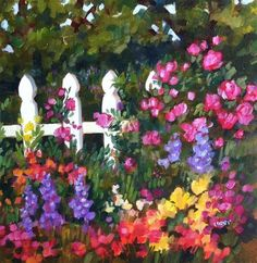 "Daily Paintworks - ""Roses on the Fence"" by Libby Anderson"