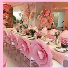 Ideas For Baby Shower Table Set Up Girl Paper Flowers Wedding Chair Decorations, Wedding Chairs, Centerpiece Decorations, Flower Decorations, Wedding Table, Decor Wedding, Paper Flower Centerpieces, Paper Flower Backdrop Wedding, Paper Flower Decor