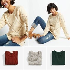 Ugh, I love sweaters. All three of the ones on the bottom are fab but especially the red one. I need more red.