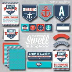"NEW Ahoy--It's a Boy--Vintage Anchor DIY Printable Baby Shower Set -5x7"" Invitation PLUS printable set on Etsy, $40.00"