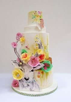Gorgeous watercolour cake with 2D painted deer and wafer paper flowers ♥