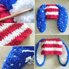 3 to 6m July 4th Red White and Blue Baby Patriotic USA Bunny Hat 98be2d0511bd