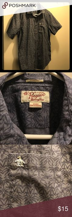 Original penguin trendy button up This is a short sleeve button up perfect for a date night or everyday wear.   Perfect when you want to wear something nicer, but as fun and comfortable as a t shirt.  It has a subtle palm tree pattern. Original Penguin Shirts Casual Button Down Shirts