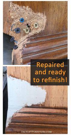 How to Repair & Replace Missing Veneer, Formica, or Wood on Furniture - DIY Furniture Bedroom Ideen Repair Wood Furniture, Wood Repair, Refurbished Furniture, Paint Furniture, Repurposed Furniture, Furniture Projects, Furniture Makeover, Furniture Refinishing, Vintage Furniture