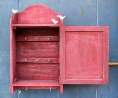 KEY BOX with pigeons - KEY Cabinet - Wall Hanging Keys Hanger - Bordeaux Shabby Chic Key Holder on Etsy, €28.58