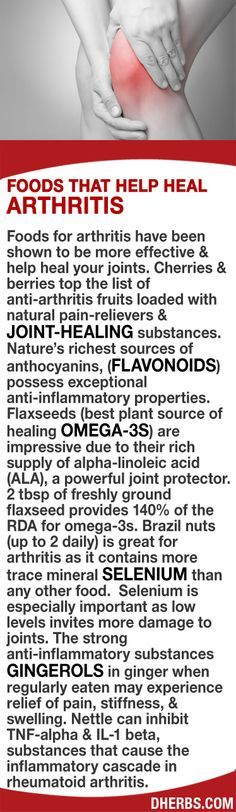 Cherries & berries top the list of anti-arthritis fruits loaded with natural pain-relievers & joint-healing substances like anthocyanins. 2 tbsp of freshly ground Flaxseeds (rich in ALA, a powerful joint protector) provides 140% of omega-3s. Brazil nuts contains selenium especially important as low levels damage joints. Gingerols in ginger when regularly eaten help relieve pain, stiffness, & swelling. Nettle can inhibit TNF-alpha & IL-1 beta, substances that cause inflammation in RA.