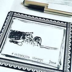 Day 4 #inktober2016 *hungry* . inktober #cat #mouse #catandmouse  #hungry #inking #drawing #drawingoftheday #drawingchallenge #collect #drawinginspiration #tinte #pentelpocketbrush #brushpen