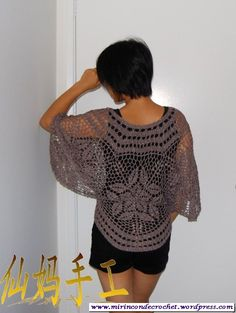 like a poncho Crochet Collar Pattern, Crochet Shawl Diagram, Freeform Crochet, Thread Crochet, Crochet Tank Tops, Crochet Shirt, Crochet Cardigan, Knit Crochet, Japanese Crochet Patterns