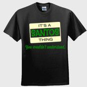 Create your own personalized SANTOS T Shirt using our online designer. No minimum order.