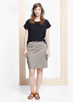 Belt midi skirt | VIOLETA BY MANGO