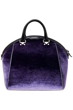 Emporio Armani Leather Trimmed Velvet Satchel with Wide Mouth Zipper Entry and… Vanity Fair, Anne Klein, Fashion Handbags, Fashion Bags, My Bags, Purses And Bags, Purple Accessories, Purple Fashion, Spring Fashion