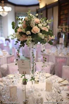 64 Ideas Wedding Decorations Table White Flower Centerpieces For 2019 Wedding Reception Table Decorations, Wedding Reception Flowers, Blush Wedding Flowers, Wedding Flower Decorations, Wedding Dresses, Reception Ideas, Table Wedding, Table Centre Pieces Wedding, Garden Wedding