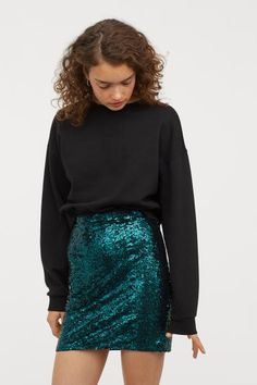 Glittery Skirt - Emerald green - Ladies | H&M US 1