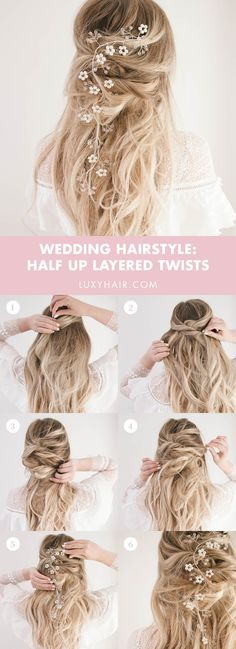 Wedding hairstyles: 3 romantic bridal hairstyles to fall in love with Wedding Hairstyles: Bridal Hair Guide, Ideas & Photo Inspiration – Luxy Hair Bridal Hairstyles With Braids, Short Hairstyles For Women, Down Hairstyles, Braided Hairstyles, Wedding Hairstyles, Fall Hairstyles, Romantic Hairstyles, Romantic Wedding Hair, Romantic Weddings