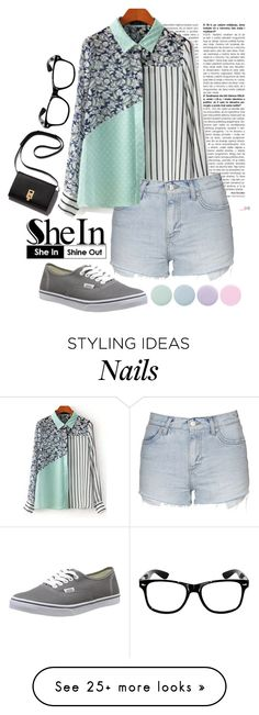 """Green Striped Blouse"" by isis-anubis5 on Polyvore featuring Topshop, Vans, Deborah Lippmann, women's clothing, women, female, woman, misses and juniors"
