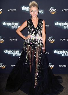 For the latest episode, Julianne Hough wowed in a pretty floral number by Georges Hobeika, paired with vibrant makeup and a chic updo.