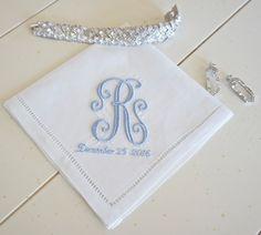 Monogrammed Linen Handkerchief, Personalized Handkerchief, Bridal Handkerchief, Wedding Handkerchief - FIND MORE HOME & BRIDAL LINENS AT DonovanDesignLinens.com
