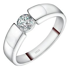 Viyino 925 Sterling Silver Cubic Zircon Crystal Engagement Ring