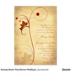 "Autumn Rustic Vine Berries Wedding Invitation 5"" X 7"" Invitation Card"
