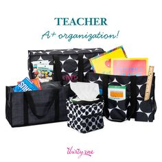 Teachers LOVE Thirty-One! Super Organizing Tote (rear - $50), Keep It Caddy (left - $22), Organizing Utility Tote (right - $30), and Littles Carry-All Caddy (front - $12). Visit https://www.mythirtyone.com/jennstathos/ for more information.