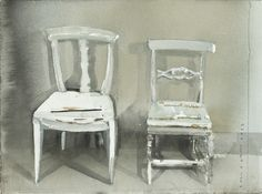 "I love the splendid ""accidents"" in this painting of chairs by Lars Lerin. Watercolor And Ink, Watercolor Paintings, Painting Art, Modern Masters, Watercolor Techniques, Art Studios, New Art, Cool Art, Indoor"