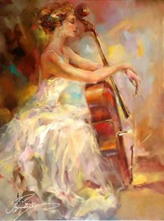 Anna Razumovskaya I love her face and the elegance of her arms resting on the cello. All so graceful! Arte Cello, Cello Kunst, Cello Art, Cello Music, Art Triste, Anna Razumovskaya, Poster S, Anime Comics, Beautiful Paintings