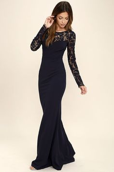 The Whenever You Call Navy Blue Lace Maxi Dress will always be there for you when you're in a fashion bind! Lovely, sheer eyelash lace tops a darted sweetheart bodice, long sleeves, and sexy open back with clasp closure. Fitted waist tops a stretchy, mermaid maxi skirt. Hidden side zipper.