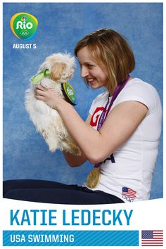 Pin for Later: A Whole Bunch of Olympians Holding Puppies, Because Obviously Katie Ledecky Us Gymnastics Team, Olympic Gymnastics, Olympic Sports, Olympic Athletes, Olympic Games, Usa Swimming, I Love Swimming, Olympic Swimming, Usa Swim Team