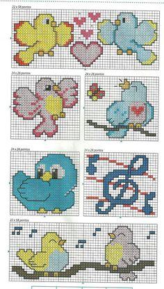 .birds Butterfly Cross Stitch, Cross Stitch Heart, Cross Stitch Animals, Crochet Bird Patterns, Embroidery Patterns, Cross Stitch Designs, Cross Stitch Patterns, Cross Stitching, Cross Stitch Embroidery