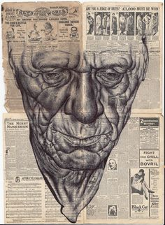myopic thunderstorms of the daily news Bic biro drawing on miniature 1929 newspaper.