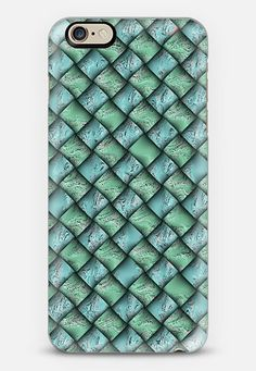 Patchwork Moire Silk iPhone 6 case by Alice Gosling | @Casetify #casetify #iphonecase #case #phonecover #green #silk #geometric #squares #pattern