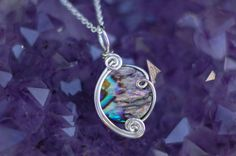 Abalone Pendant in Sterling Silver / Wire by KosmicKrystals