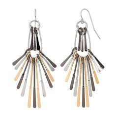 Tri Tone Paddle Fan Nickel Free Drop Earrings, Multicolor