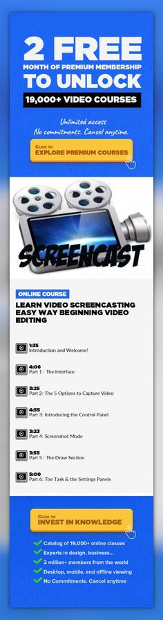 Learn Video Screencasting Easy Way Beginning Video Editing Video Production, Film Production, Recording, Beginner, Creative, Screencast, Screen Capture, Teacher Tools #onlinecourses #CoursesApp #onlinelearningtools   The List price for Camtasia is $ 299. Are you sure you're ready to invest that much money to learn screencasting? This Course is for Anyone Who Would Like How to Learn to Use Screen...