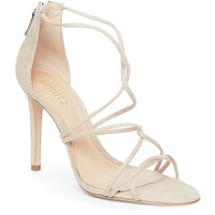 Schutz Amber Light Myrcella Strappy High Heel Sandals ($130) ❤ liked on Polyvore featuring shoes, sandals, beige, open toe sandals, strap heel sandals, strappy sandals, open toe shoes and strappy heeled sandals