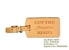 Luggage tags can double as a place card and a favor. These custom leather tags are available on Etsy from Porter Leather