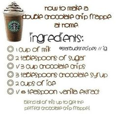 I love Starbucks frappes. This way you don't have to go to Starbucks and get a great frappe at home. Starbucks Frappuccino, Starbucks Drinks, Coffee Drinks, Iced Coffee, Coffee Art, Coffee Break, Morning Coffee, Starbucks Hacks, Starbucks Caramel