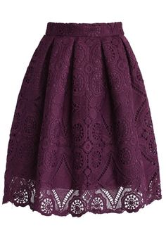 Purple Lace Knee Length Skirt<br/><div class='zoom-vendor-name'>By <a href=http://www.ustrendy.com/Chicwish>Chicwish</a></div>