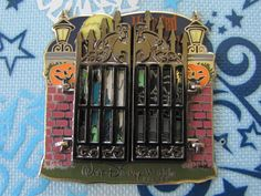 Disney LE Trading Pin Haunted Mansion Gus Hitchhiking Ghost Gate Halloween 92197. Pin Number: 92197. This pin is designed to look like the gated enterance to the Haunted Mansion attraction at Walt Disney World.